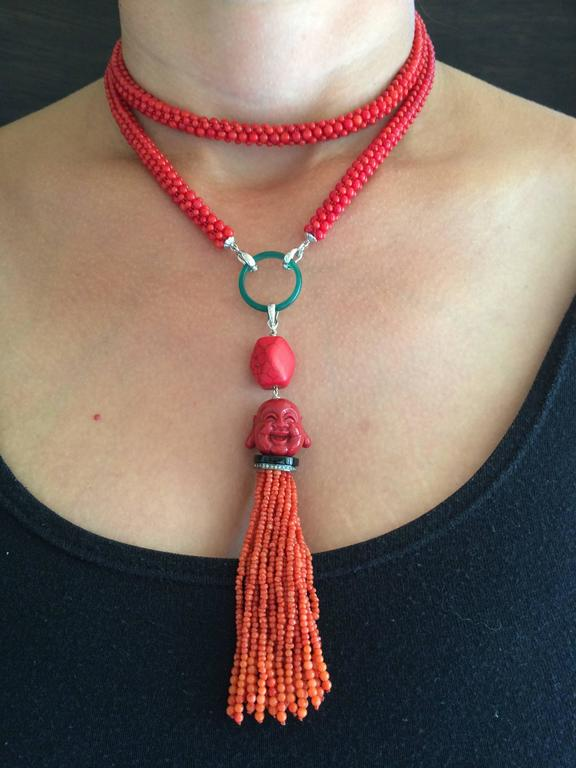 Multi-Strand Woven Coral Bead Tassel Sautoir Necklace 9