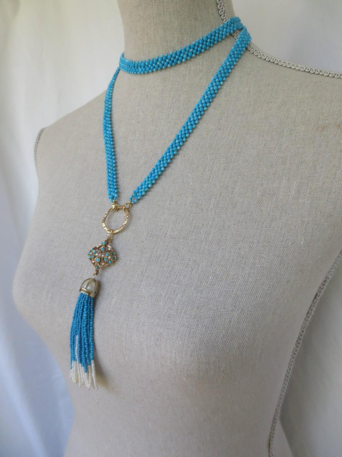 multi strand woven turquoise bead and pearl sautoir