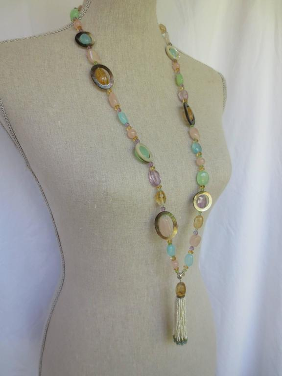 Multi Color Semi Precious Bead Long Lariat Necklace With