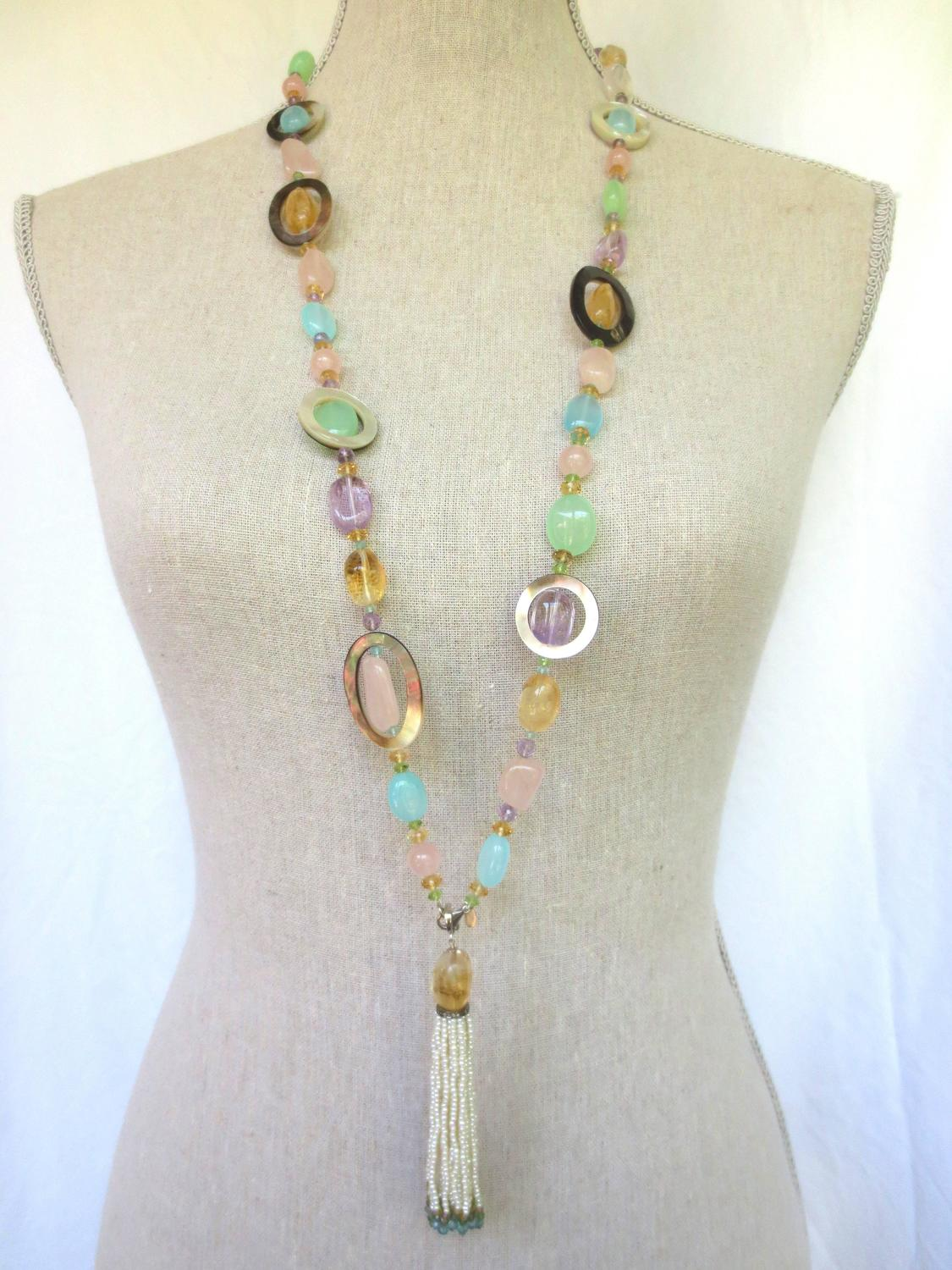 Multi Color Semi Precious Bead Long Lariat Necklace With