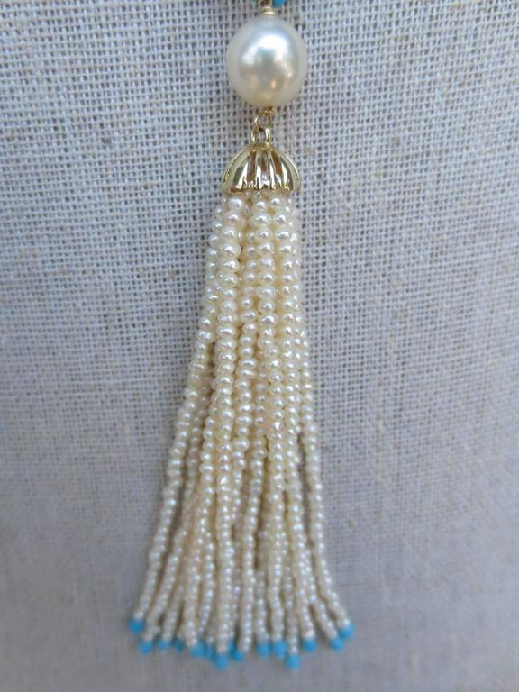 Versatile Woven Pearl Turquoise Bead Long Sautoir with Pearl Tassels and Gold For Sale 2