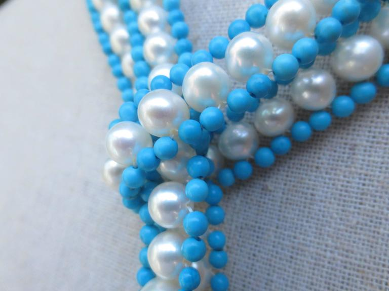 Versatile Woven Pearl Turquoise Bead Long Sautoir with Pearl Tassels and Gold For Sale 3