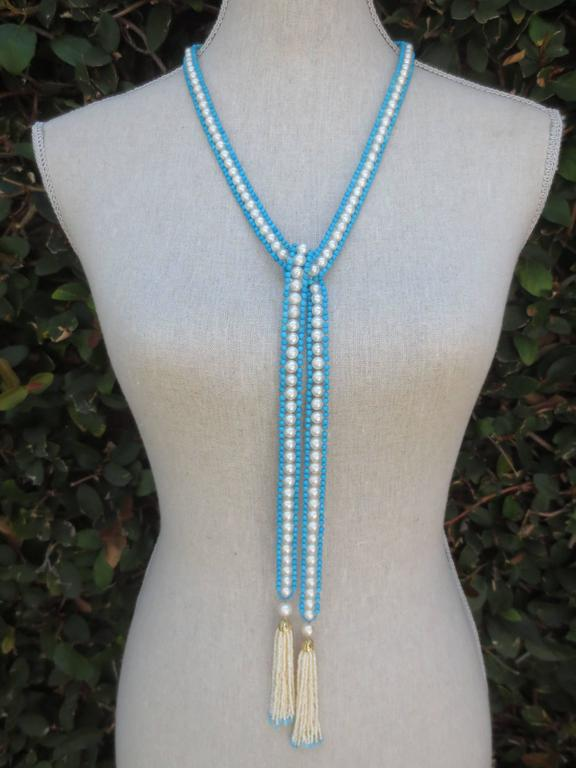 Versatile Woven Pearl Turquoise Bead Long Sautoir with Pearl Tassels and Gold In New Condition For Sale In Beverly Hills, CA