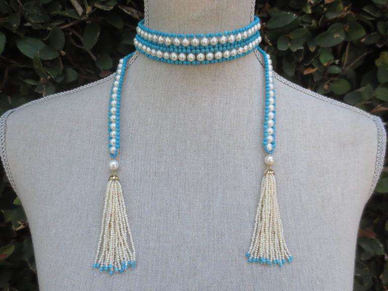 Versatile Woven Pearl Turquoise Bead Long Sautoir with Pearl Tassels and Gold For Sale 1
