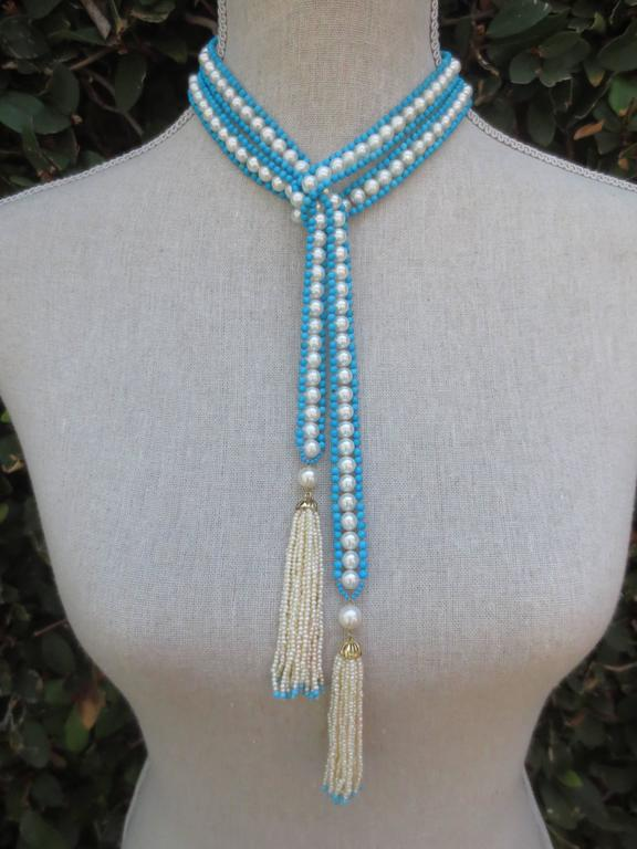 Women's Versatile Woven Pearl Turquoise Bead Long Sautoir with Pearl Tassels and Gold For Sale