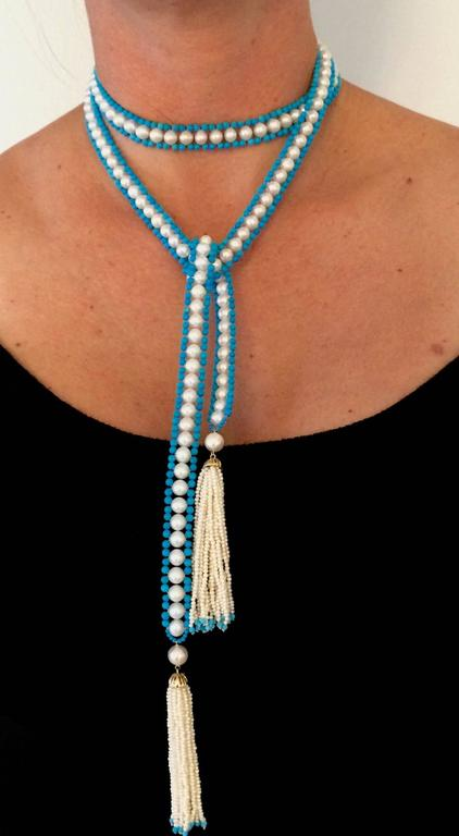 Versatile Woven Pearl Turquoise Bead Long Sautoir with Pearl Tassels and Gold For Sale 4