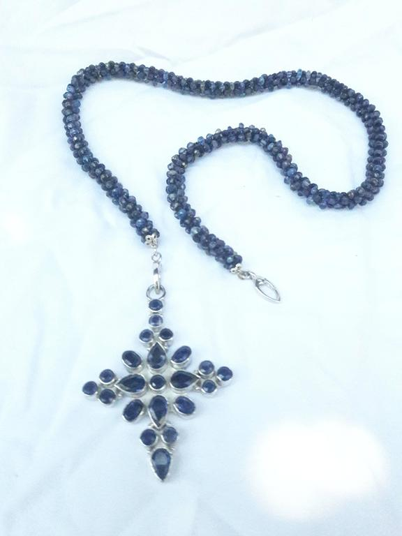 Women's Marina J Faceted Iolite & Sapphire beads Woven Necklace with Silver Cross For Sale
