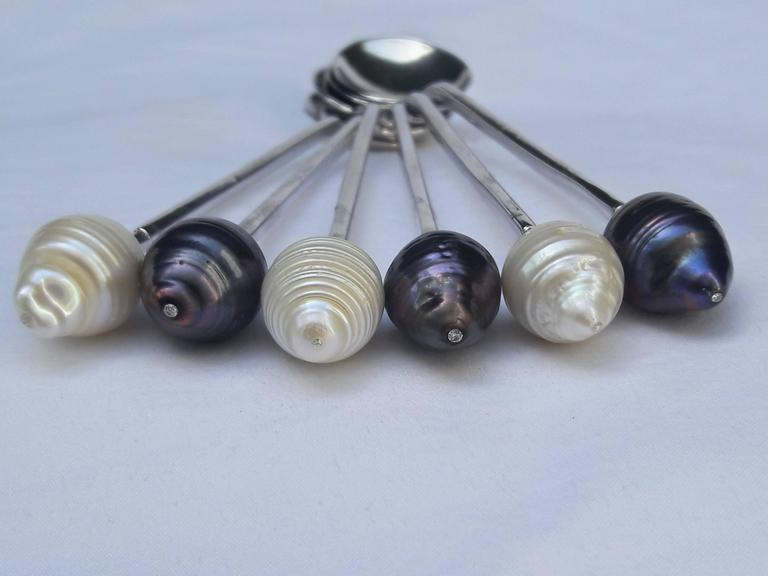 Women's or Men's Marina J Sterling Silver Spoons with Baroque Black and White Pearls and Diamonds For Sale