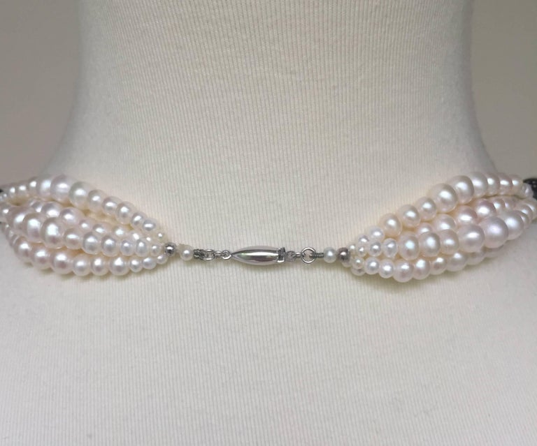 Multi-Strand Graduated White Pearl Sautoir with Wooden Silver Inlay Beads. For Sale 1