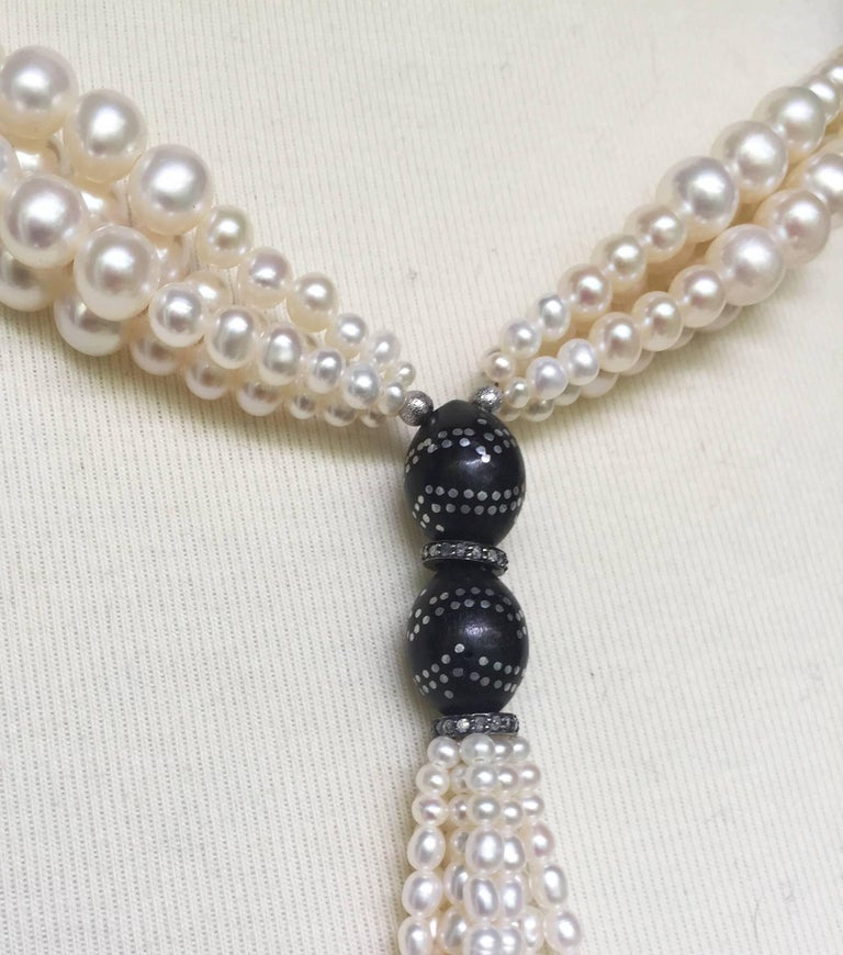 Multi-Strand Graduated White Pearl Sautoir with Wooden Silver Inlay Beads. For Sale 2