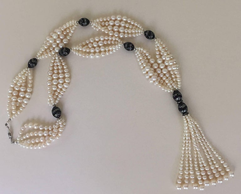 Multi-Strand Graduated White Pearl Sautoir with Wooden Silver Inlay Beads. For Sale 3