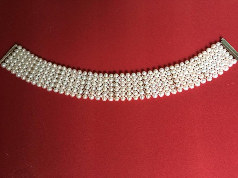 Woven Pearl Tall Choker w. Rhodium Plated Silver Faceted Beads & Clasp 4