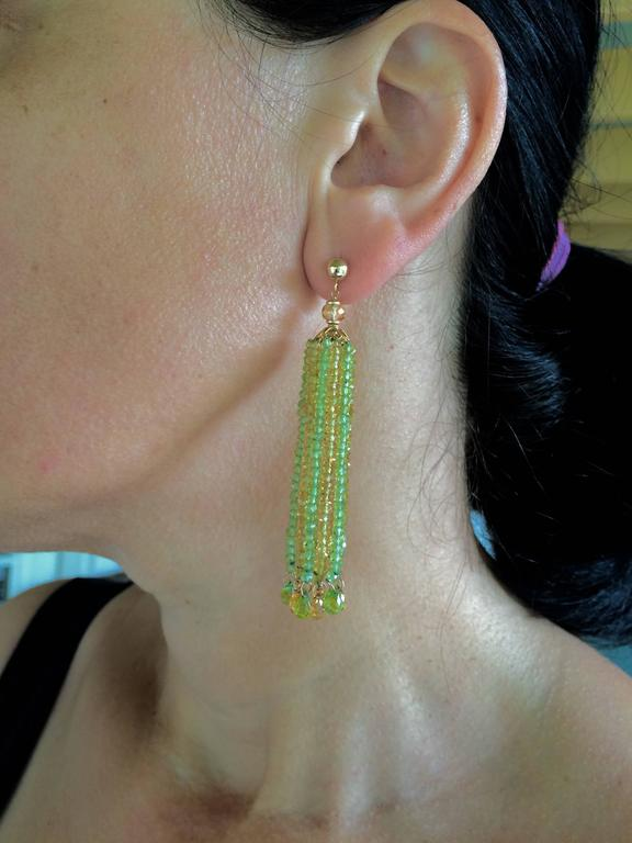 Faceted Citrine Peridot Bead Tassel Earrings For Sale 1