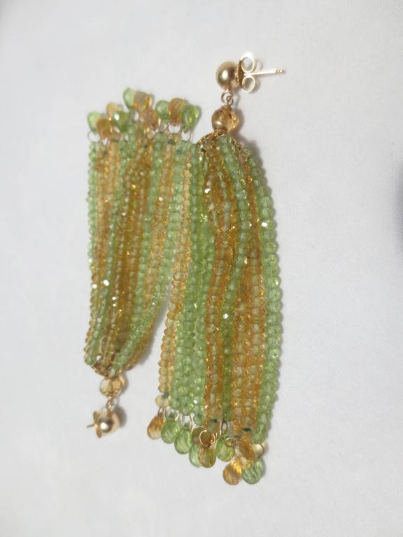 Women's Faceted Citrine Peridot Bead Tassel Earrings For Sale