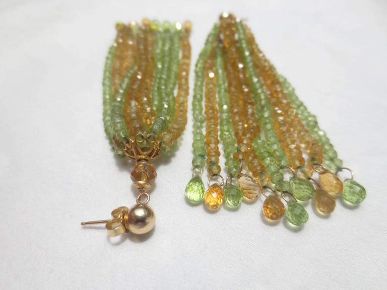 Faceted Citrine Peridot Bead Tassel Earrings In As new Condition For Sale In Beverly Hills, CA