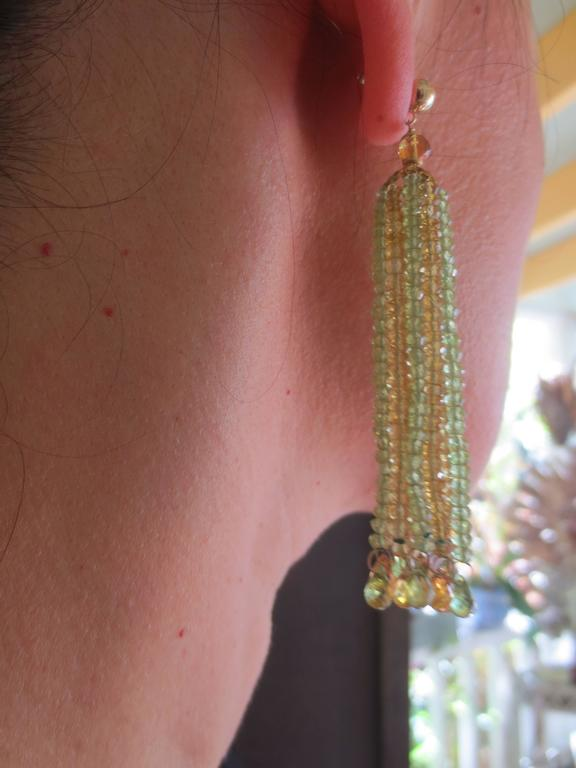 Faceted Citrine Peridot Bead Tassel Earrings For Sale 2