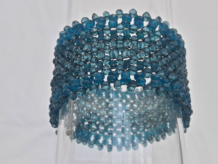 Woven London Blue Topaz & Apatite Faceted Bead Bracelet w. Sliding Silver Clasp 2