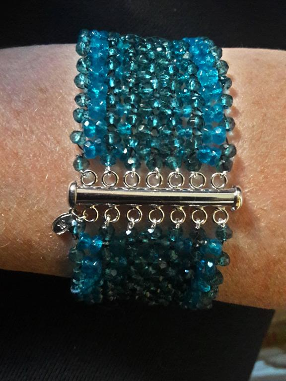 Woven London Blue Topaz & Apatite Faceted Bead Bracelet w. Sliding Silver Clasp For Sale 1