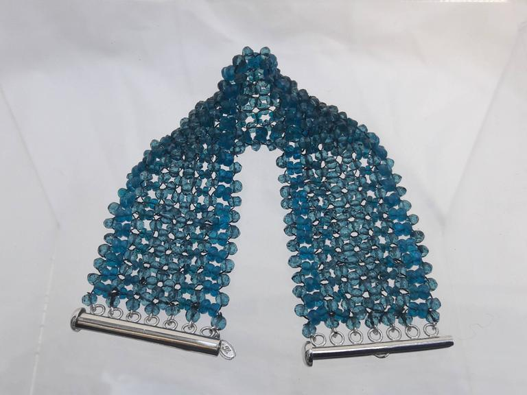 Artist Woven London Blue Topaz & Apatite Faceted Bead Bracelet w. Sliding Silver Clasp For Sale