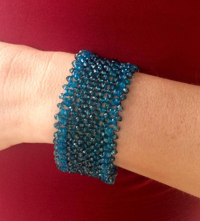 Woven London Blue Topaz & Apatite Faceted Bead Bracelet w. Sliding Silver Clasp For Sale 2