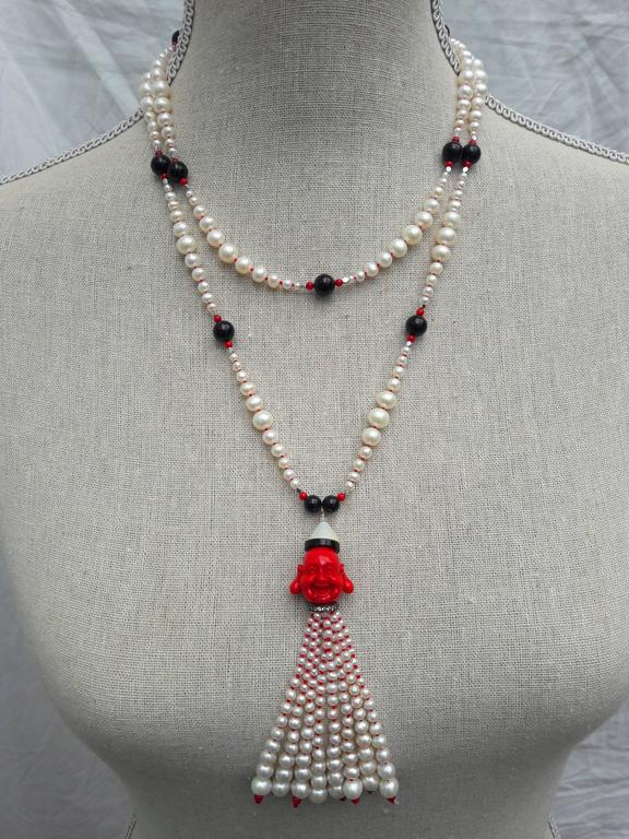 Marina J. Pearl Coral Onyx Silver Bead Sautoir Buddha Necklace For Sale 3