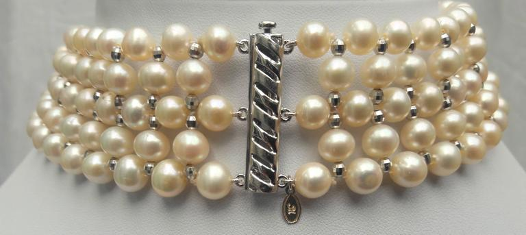 Woven White Pearl and 14 k White Gold Drape Choker and Rhodium Silver Clasp  For Sale 3