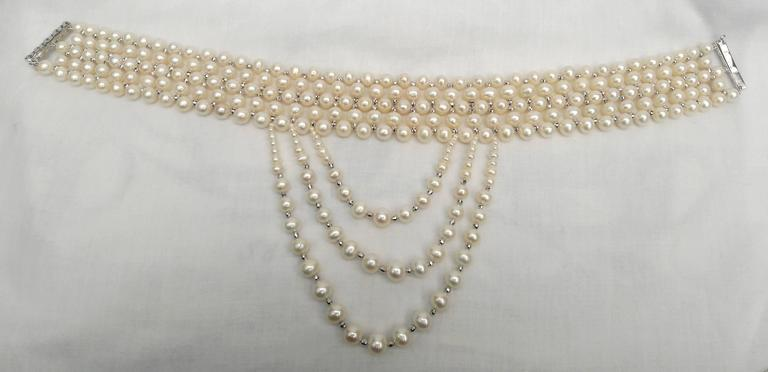 Woven White Pearl and 14 k White Gold Drape Choker and Rhodium Silver Clasp  For Sale 4