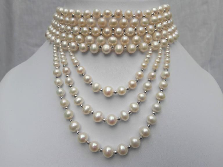 Artist Woven White Pearl and 14 k White Gold Drape Choker and Rhodium Silver Clasp  For Sale