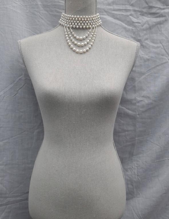 Women's Woven White Pearl and 14 k White Gold Drape Choker and Rhodium Silver Clasp  For Sale