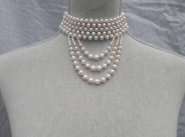Woven White Pearl and 14 k White Gold Drape Choker and Rhodium Silver Clasp  In New Condition For Sale In Beverly Hills, CA