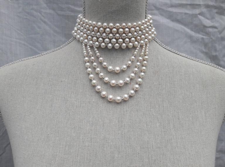 Marina J. Woven Pearl Gold Drape Choker Necklace 4