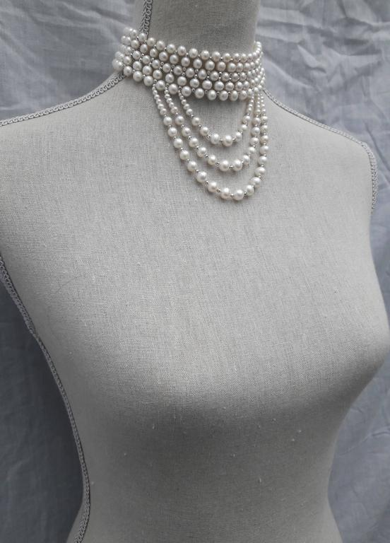 Woven White Pearl and 14 k White Gold Drape Choker and Rhodium Silver Clasp  For Sale 2