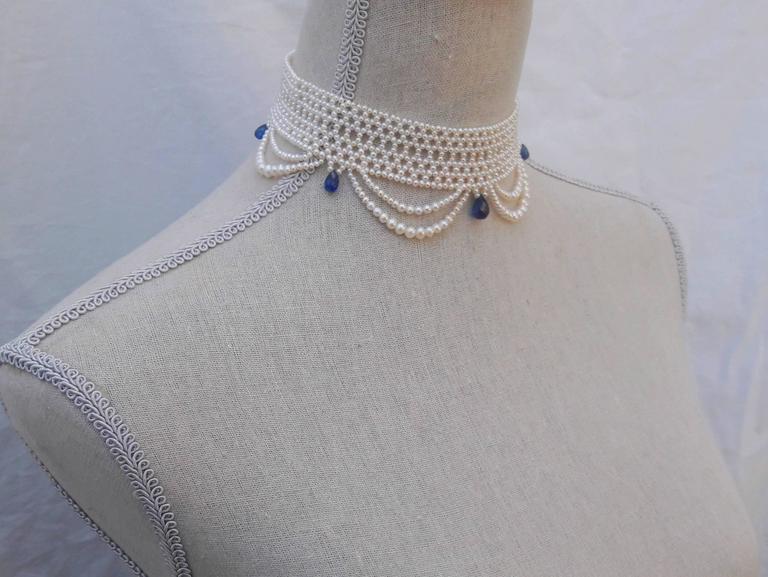Marina J. Woven Pearl Draped Choker Necklace 4