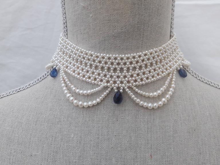 Marina J. Woven Pearl Draped Choker Necklace 3