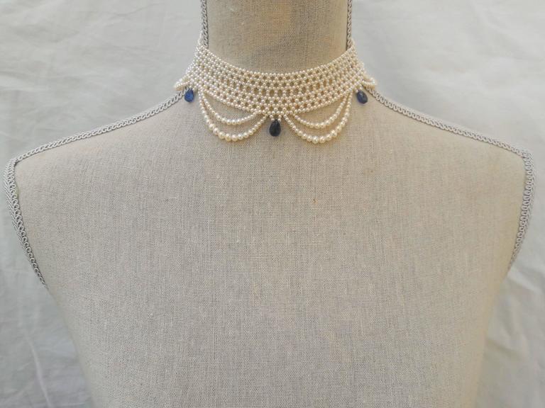 Marina J. Woven Pearl Draped Choker Necklace 5