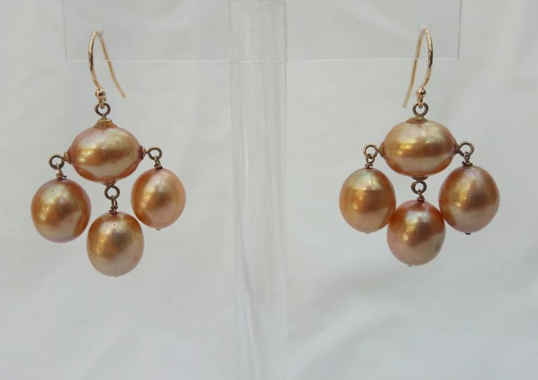 Marina J. Baroque Pearl Gold Earrings In New Condition For Sale In Beverly Hills, CA