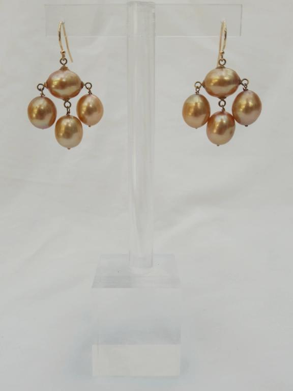 Art Deco Marina J. Baroque Pearl Gold Earrings For Sale