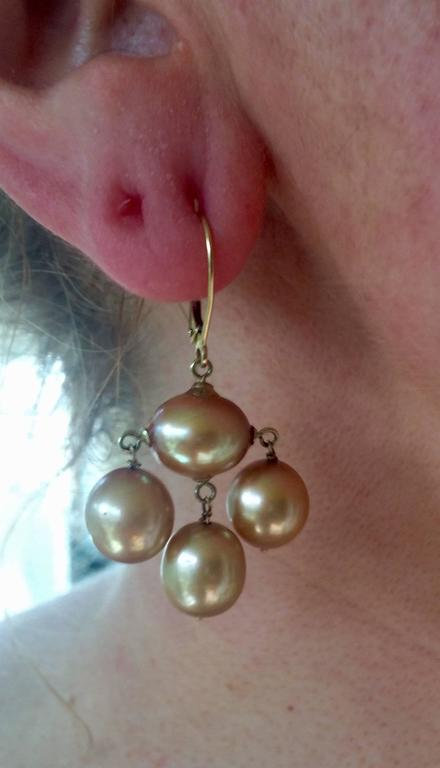 Marina J. Baroque Pearl Gold Earrings For Sale 1