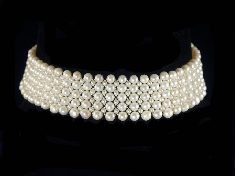 Multi-strand Woven Pearl Choker For Sale 2