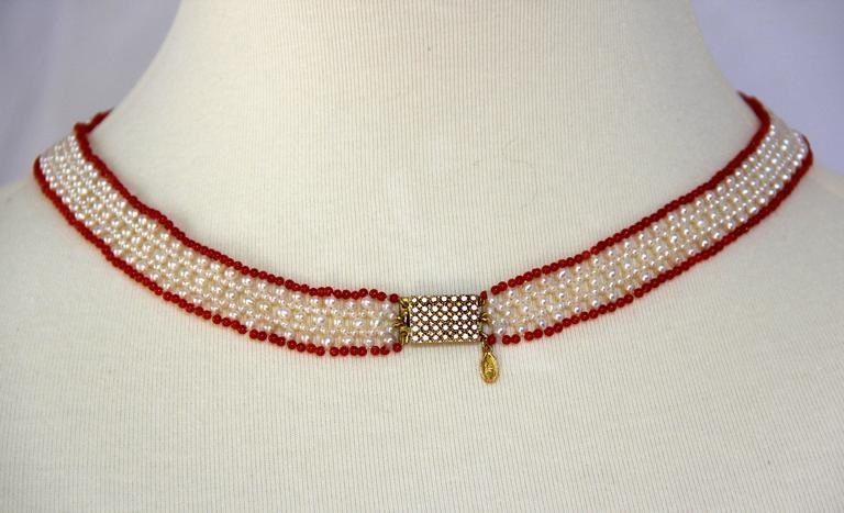 Marina J White Pearls and Coral Beads V Shape Necklace 3