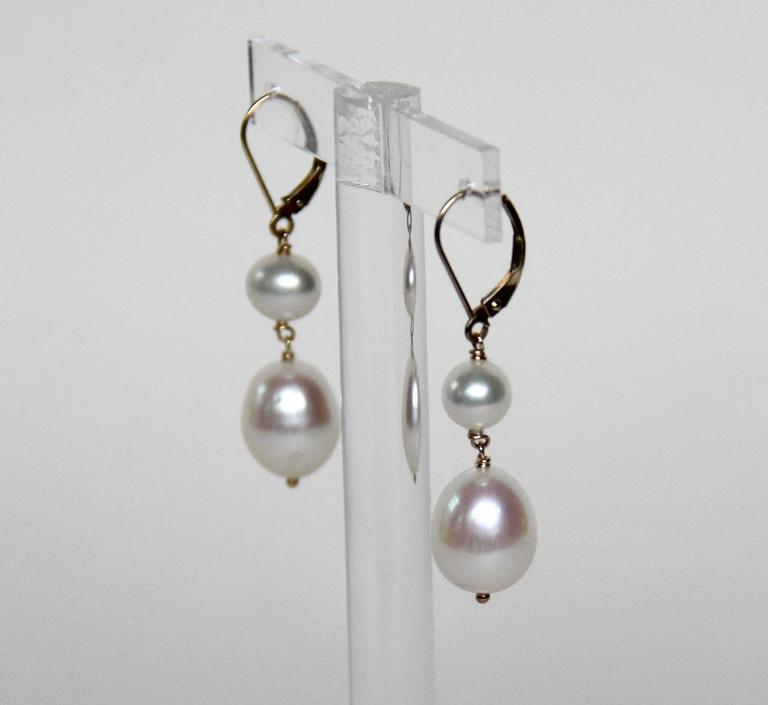 Marina J Double Pearl Drop Gold Hook Earrings 3
