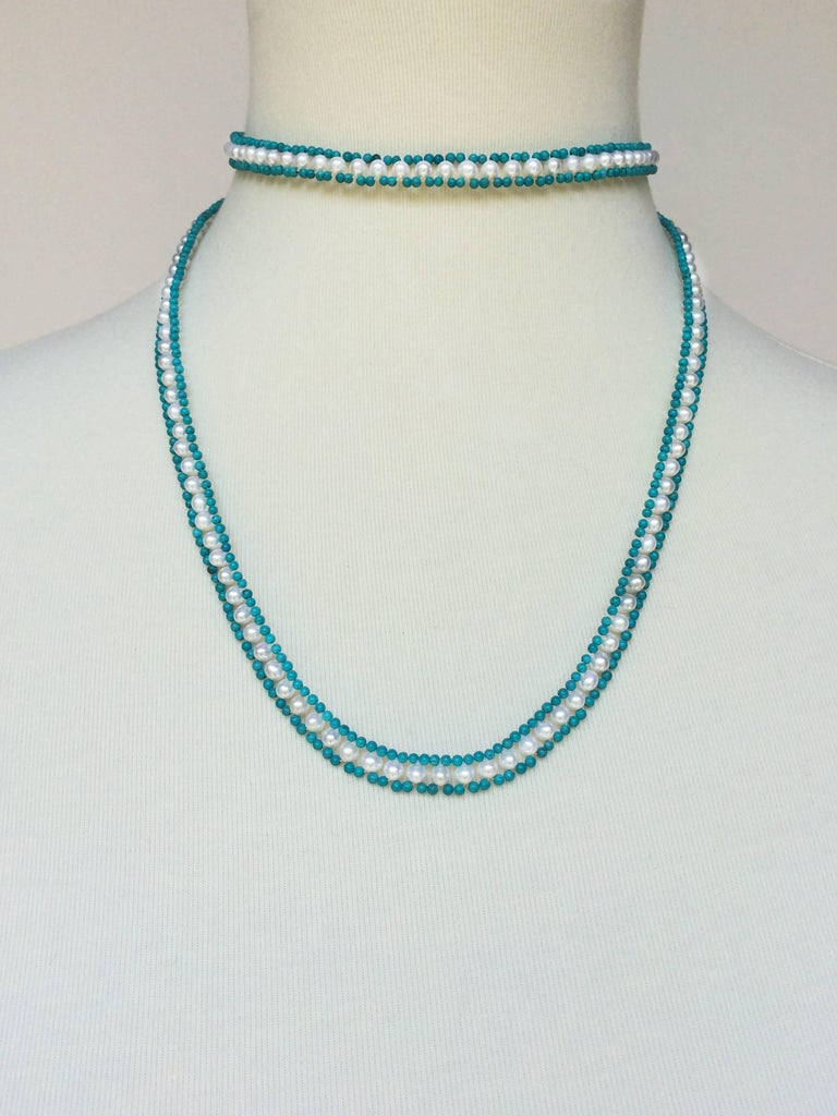 Marina J Turquoise and Pearl Tassel Sautoir In New Condition For Sale In Beverly Hills, CA