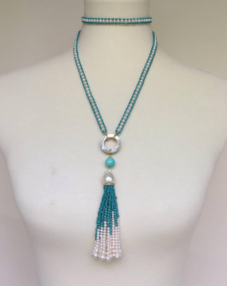 Women's Marina J Turquoise and Pearl Tassel Sautoir For Sale