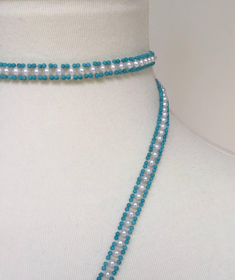 Marina J Turquoise and Pearl Tassel Sautoir For Sale 1