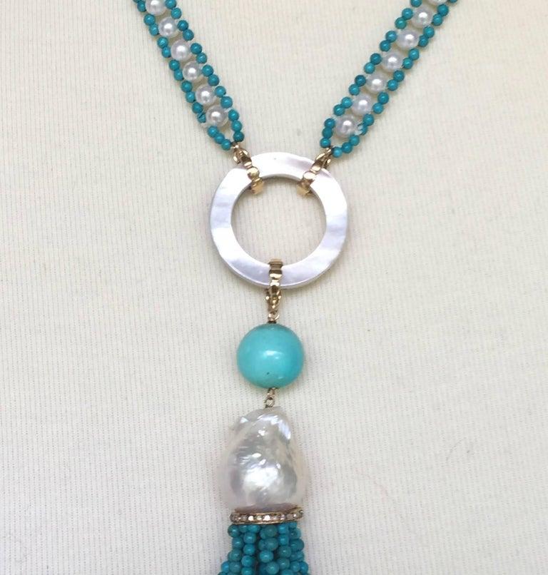 Marina J Turquoise and Pearl Tassel Sautoir For Sale 3