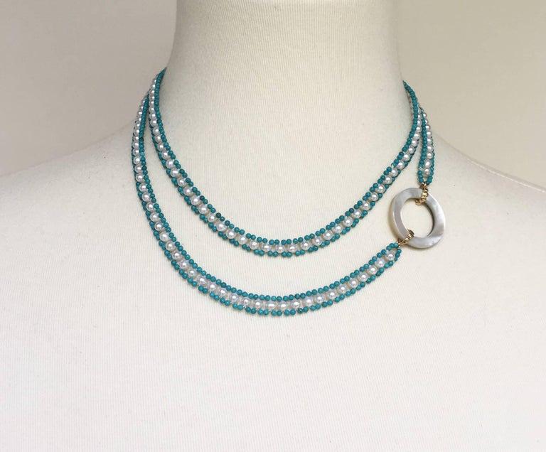 Marina J Turquoise and Pearl Tassel Sautoir For Sale 4