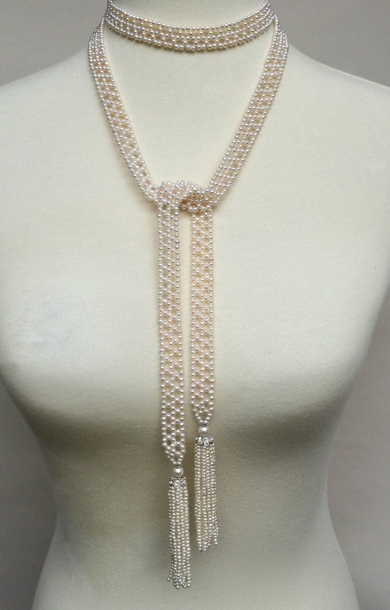 Marina J Pearl Tassel Sautoir with White Gold and Pearl Tassels In New Condition For Sale In Beverly Hills, CA