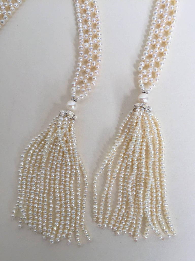 Marina J Pearl Tassel Sautoir with White Gold and Pearl Tassels For Sale 1