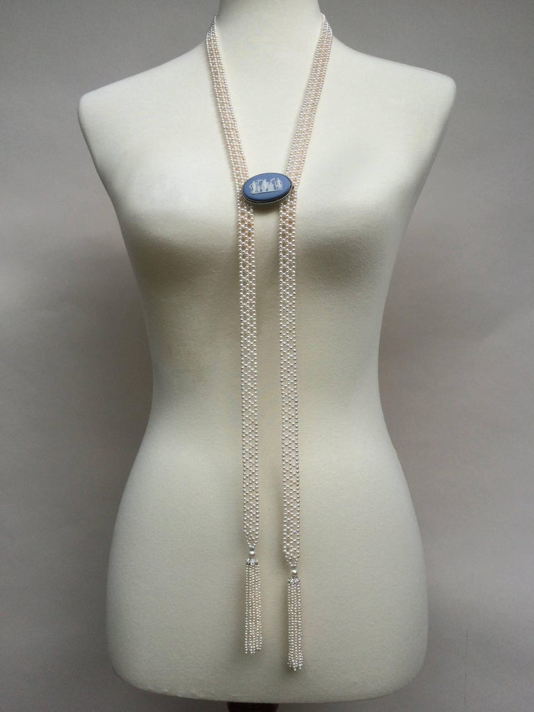 Women's Marina J Pearl Tassel Sautoir with White Gold and Pearl Tassels For Sale