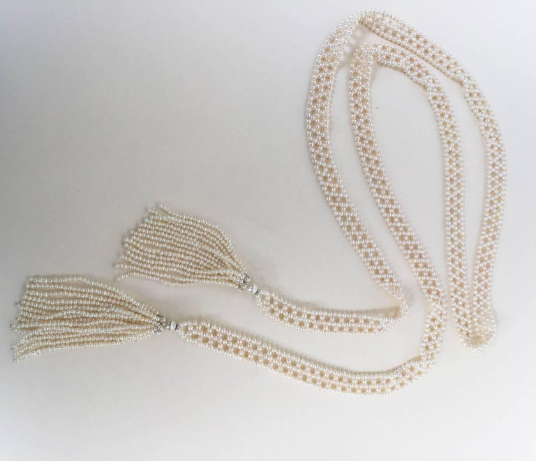 Marina J Pearl Tassel Sautoir with White Gold and Pearl Tassels For Sale 3